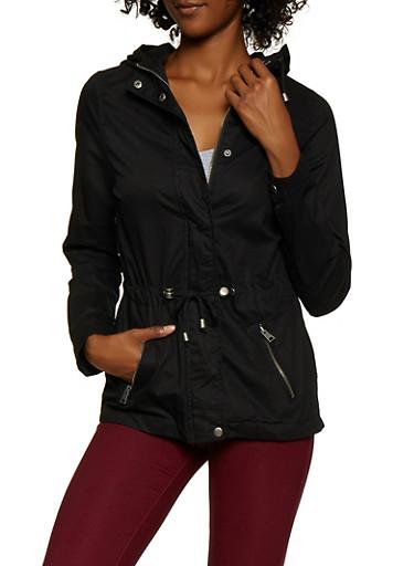Drawstring Anorak Jacket,BLACK,large