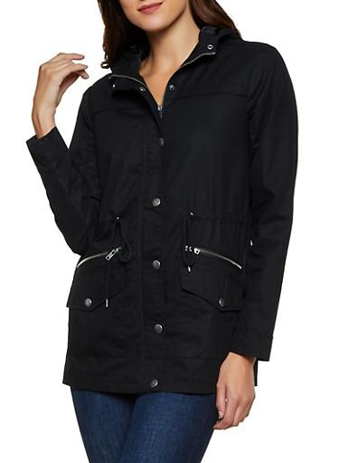 Solid Twill Anorak Jacket | 3086051067261,BLACK,large
