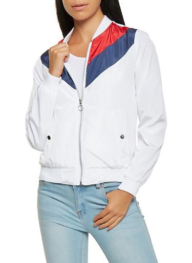 Color Block Chevron Bomber Jacket,WHITE,large