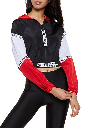 Jersey Mesh Insert Love Color Block Windbreaker,BLACK,large