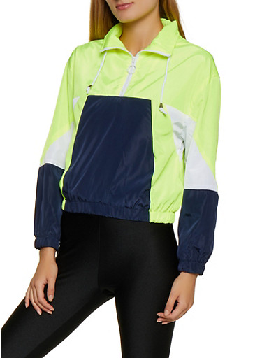 Color Block Pullover Windbreaker,LIME,large