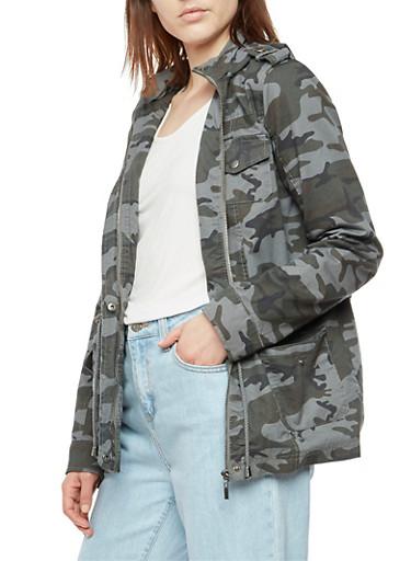 Camo Print Anorak Jacket,GRAY,large