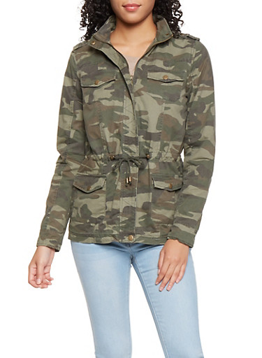 Hooded Camo Anorak Jacket,OLIVE,large