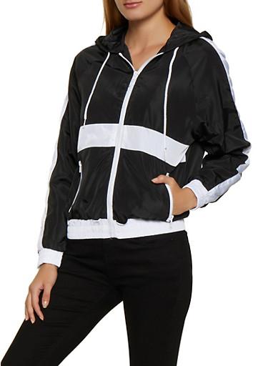 Color Block Zip Up Hooded Windbreaker,BLACK,large