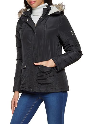 Sherpa Lined Hood Puffer Coat,BLACK,large