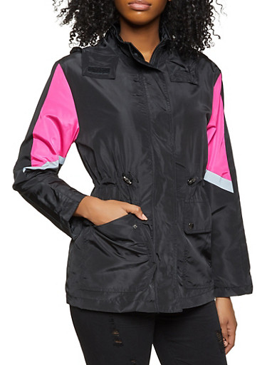 Color Block Windbreaker Anorak Jacket,BLACK,large
