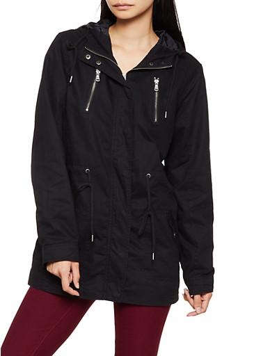 Twill Drawstring Jacket,BLACK,large