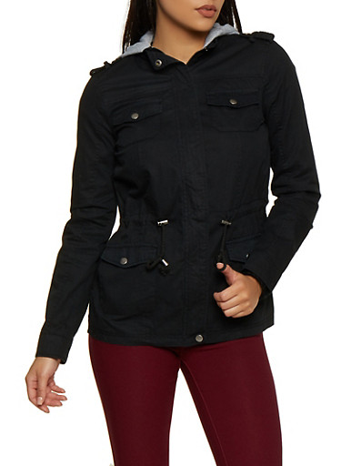 Fleece Lined Hood Anorak Jacket,BLACK,large