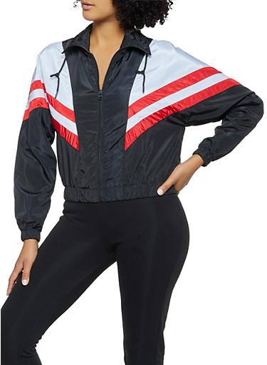 Chevron Color Block Windbreaker Jacket,BLACK/WHITE,large