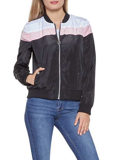 Color Block Zip Up Windbreaker Jacket,BLACK,large