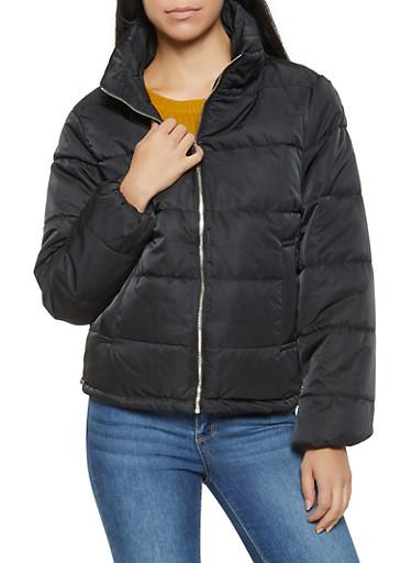 Zip Up Puffer Jacket,BLACK,large