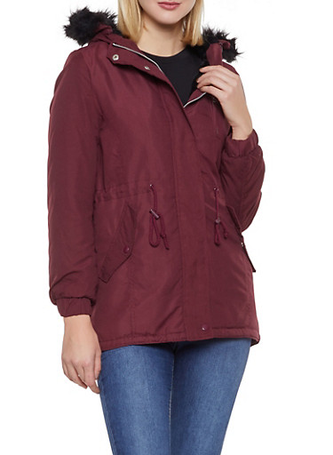 Faux Fur Hooded Anorak Jacket,WINE,large