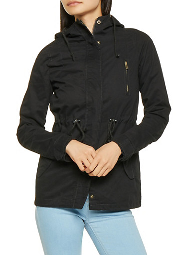 Hooded Twill Anorak Jacket,BLACK,large