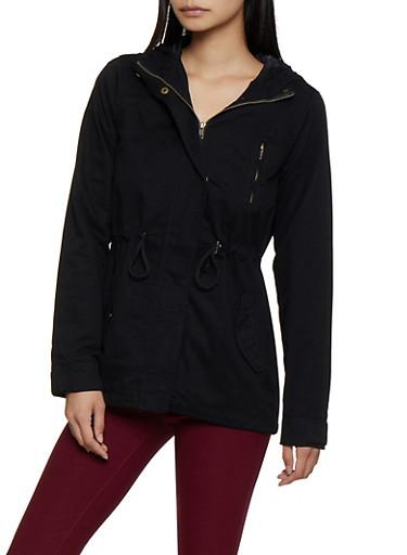 Solid Twill Anorak Jacket | 3086054265431,BLACK,large