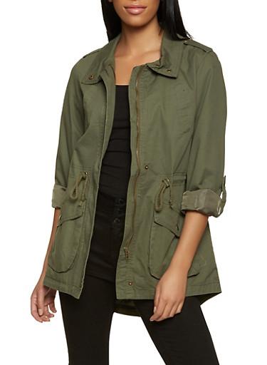 Twill Anorak Jacket,OLIVE,large