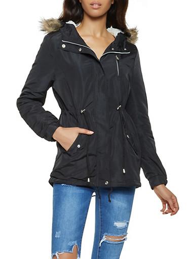 Sherpa Lined Hooded Anorak Jacket,BLACK,large