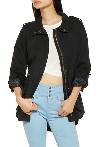 Zip Front Twill Anorak Jacket,BLACK,large