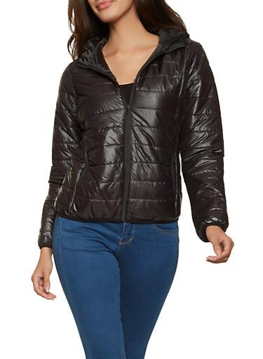 Lightweight Packable Puffer Jacket,BLACK,large