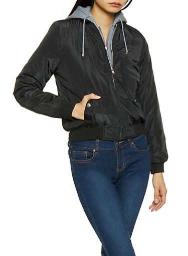 Hooded Bomber Jacket,BLACK,large