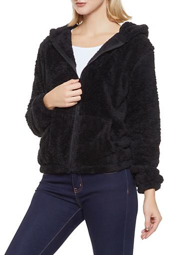 Animal Ear Hooded Sherpa Jacket,BLACK,large
