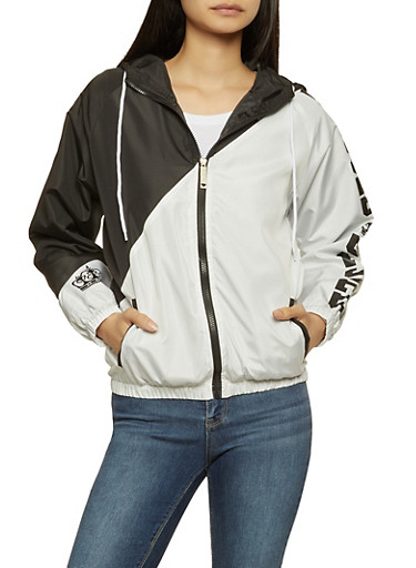 Blessed Graphic Color Block Windbreaker,BLACK/WHITE,large