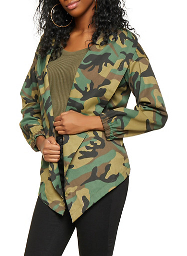 Camo Open Front Jacket,OLIVE,large