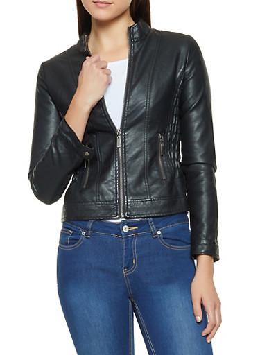 Ruched Side Faux Leather Jacket,BLACK,large