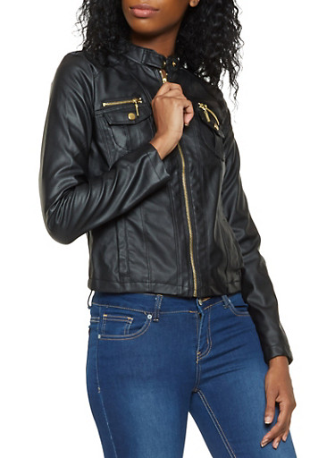 Zip Up Faux Leather Jacket,BLACK,large