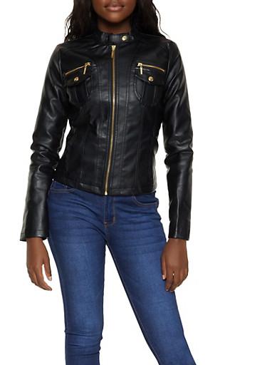Zip Pocket Faux Leather Jacket,BLACK,large