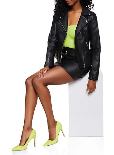 Zip Pocket Faux Leather Moto Jacket,BLACK,large