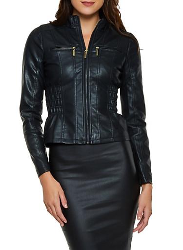 Smocked Side Faux Leather Moto Jacket,BLACK,large