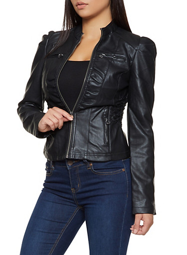 Faux Leather Ruched Moto Jacket,BLACK,large