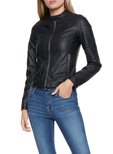 Decorative Stitch Faux Leather Jacket,BLACK,large