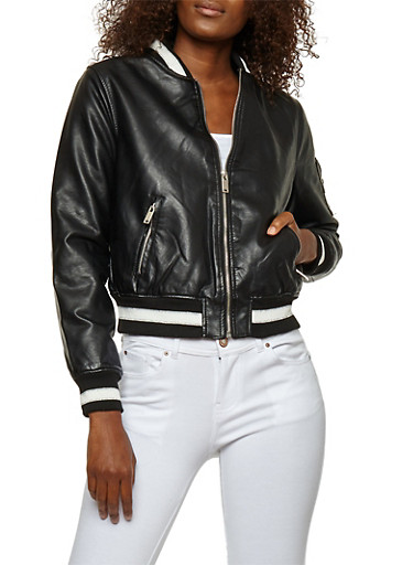 Sherpa Lined Faux Leather Jacket,BLACK,large