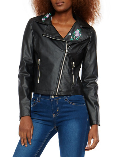 Embroidered Faux Leather Moto Jacket,BLACK,large