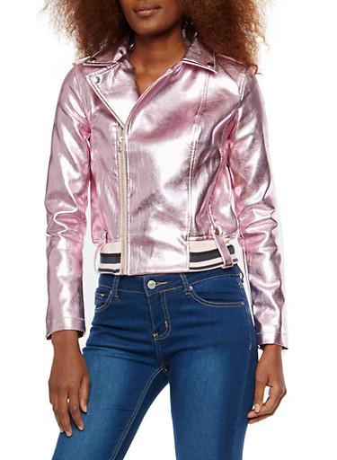Metallic Faux Leather Baseball Jacket,PINK,large