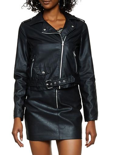 Belted Faux Leather Moto Jacket,BLACK,large