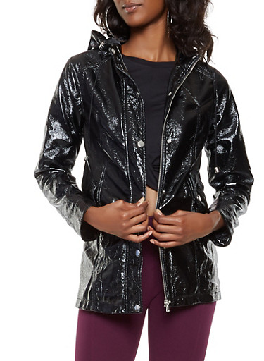 Faux Patent Leather Anorak Jacket,BLACK,large