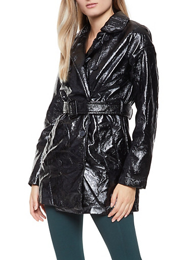 Faux Patent Leather Trench Coat,BLACK,large