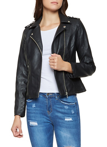 Faux Leather Tabbed Shoulder Moto Jacket,BLACK,large