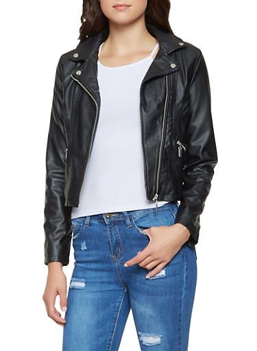 Faux Leather Asymmetrical Zip Jacket,BLACK,large