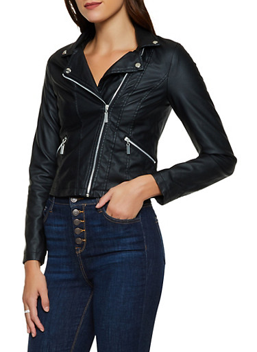 Zip Front Faux Leather Moto Jacket,BLACK,large