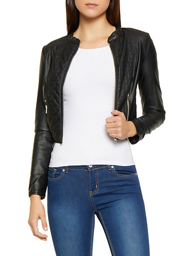 Quilted Detail Cropped Faux Leather Jacket,BLACK,large