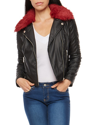 Faux Leather Stitched Jacket,BLACK,large