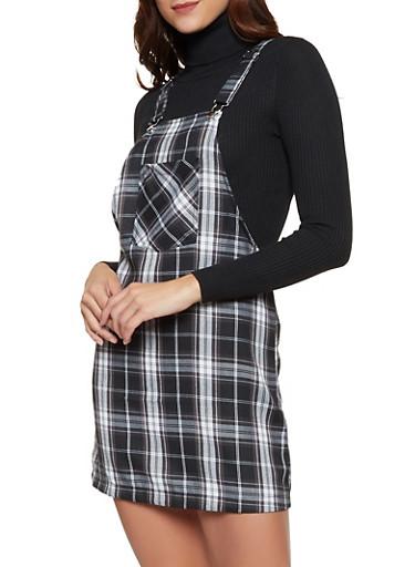 Plaid Overall Dress,BLACK,large