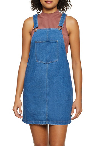 Denim Mini Overall Dress,MEDIUM WASH,large