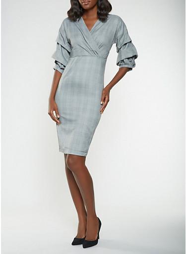 Faux Wrap Plaid Midi Dress,GRAY,large