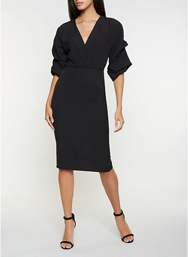 Ruched Sleeve Faux Wrap Dress,BLACK,large