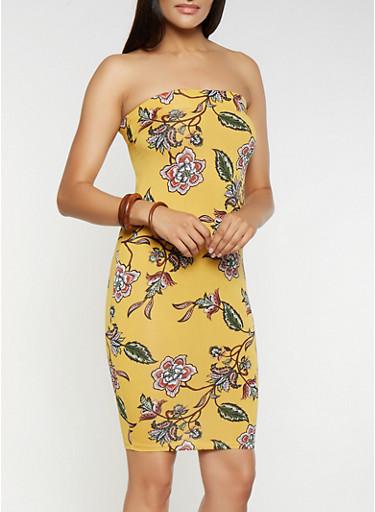 Printed Tube Dress,MUSTARD,large
