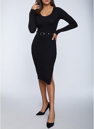 Belted Rib Knit Sweater Dress,BLACK,large